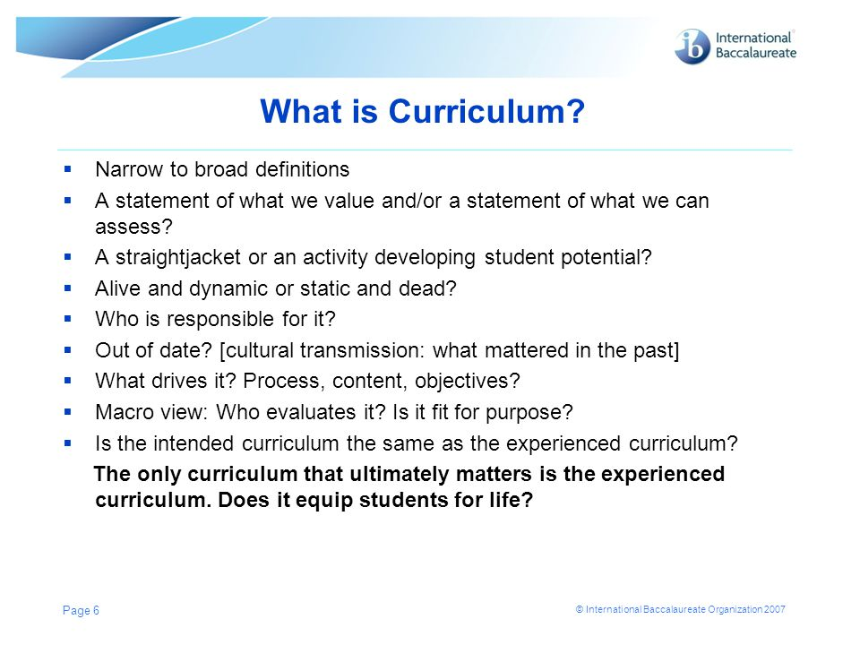 What is Curriculum Narrow to broad definitions