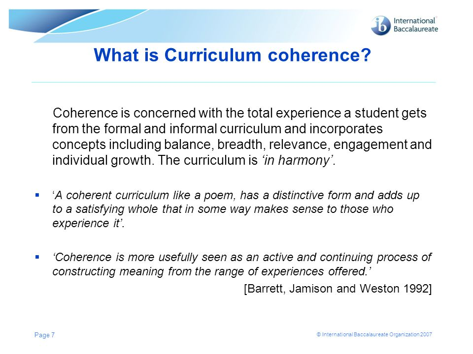 What is Curriculum coherence