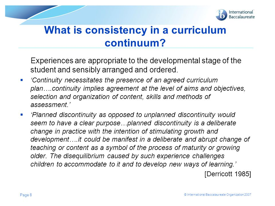 What is consistency in a curriculum continuum