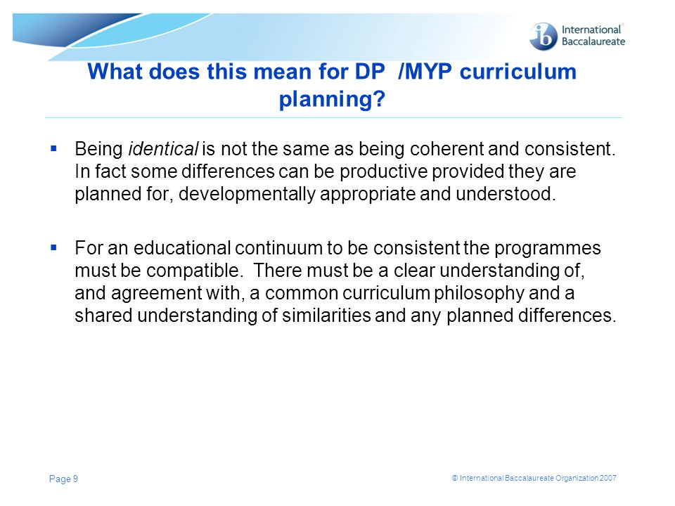 What does this mean for DP /MYP curriculum planning