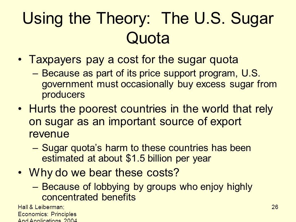 Using the Theory: The U.S. Sugar Quota