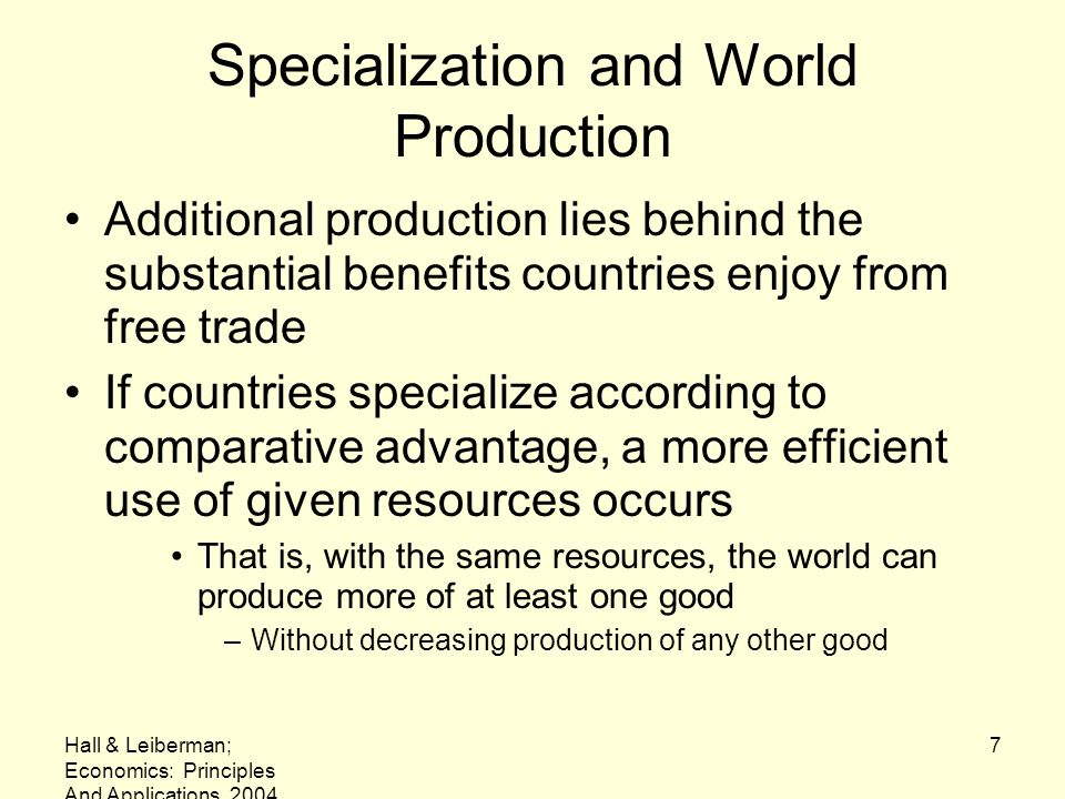 Specialization and World Production