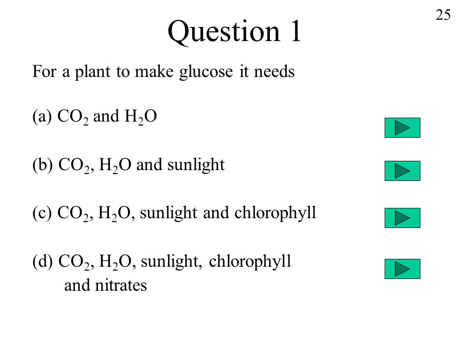Question 1 For a plant to make glucose it needs (a) CO2 and H2O