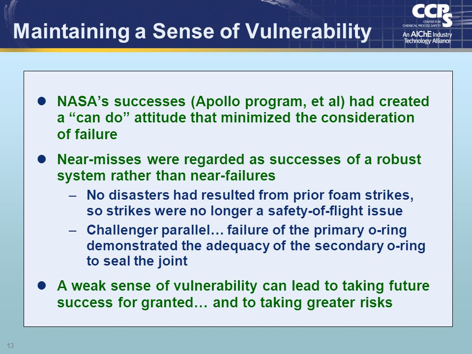 Maintaining a Sense of Vulnerability