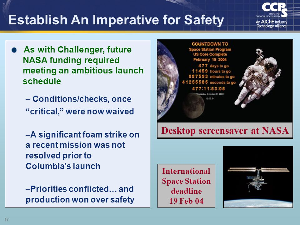 Establish An Imperative for Safety