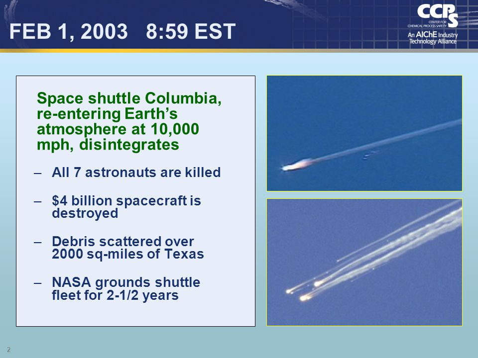 FEB 1, 2003 8:59 EST Space shuttle Columbia, re-entering Earth's atmosphere at 10,000 mph, disintegrates.