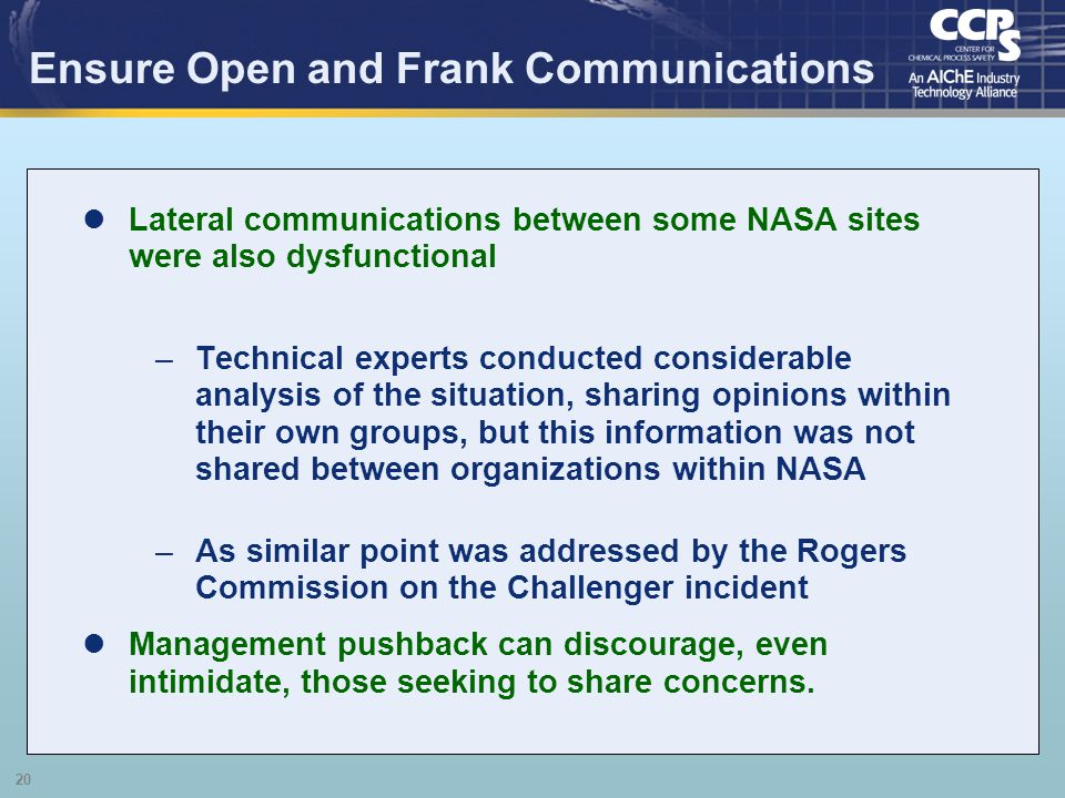 Ensure Open and Frank Communications