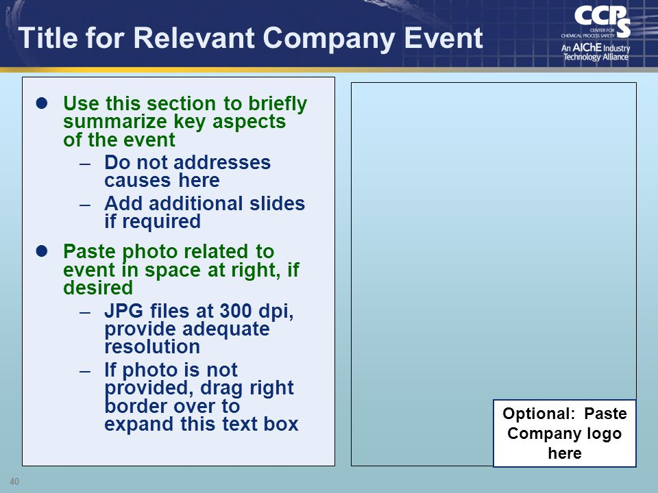 Title for Relevant Company Event