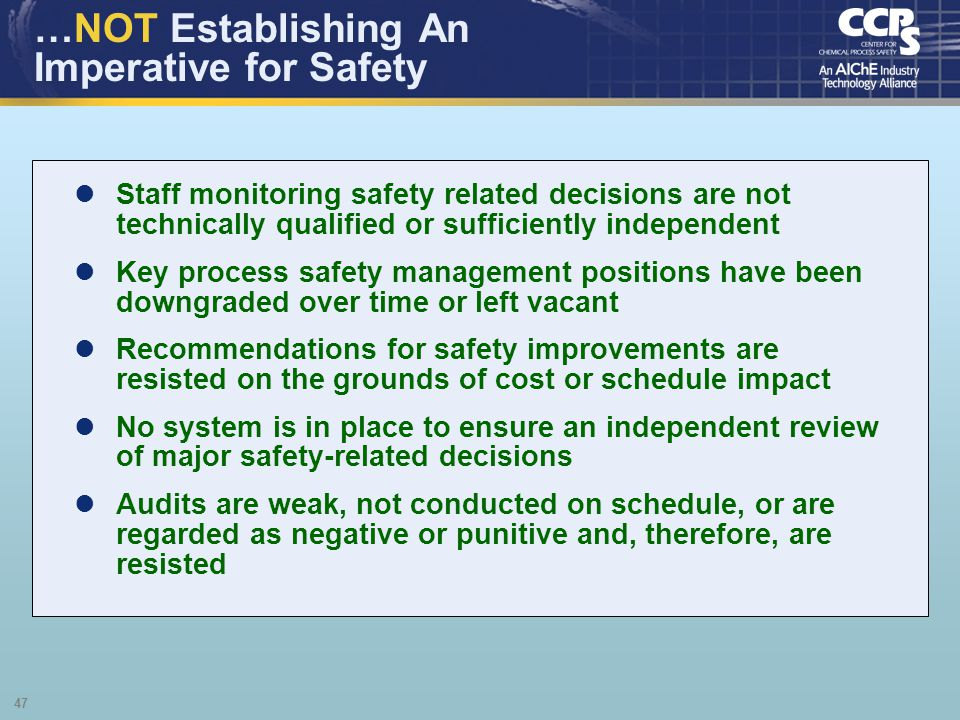 …NOT Establishing An Imperative for Safety
