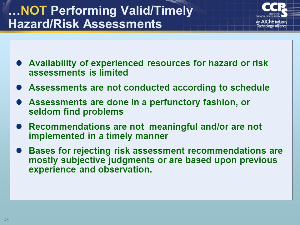 …NOT Performing Valid/Timely Hazard/Risk Assessments