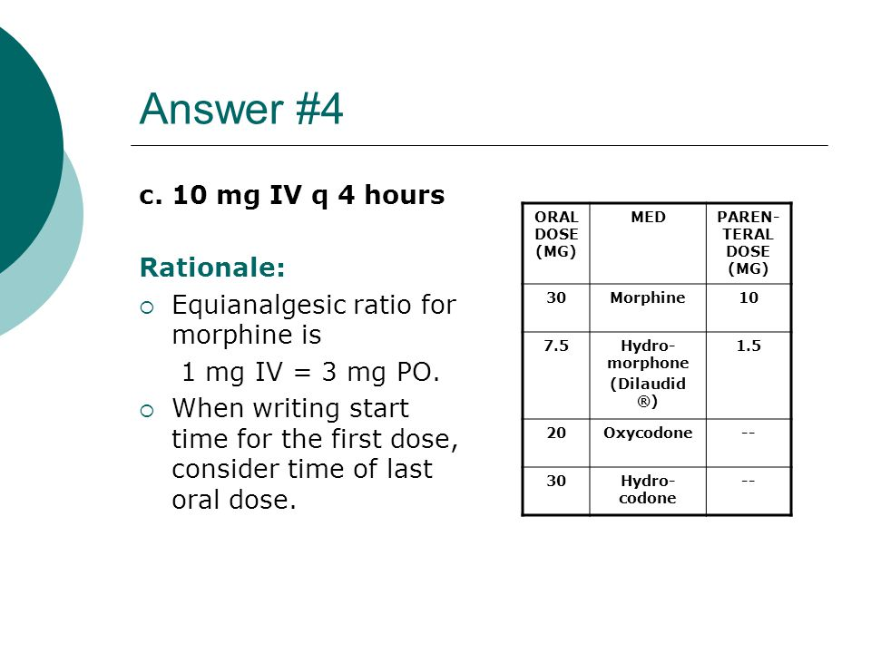Answer #4 c. 10 mg IV q 4 hours Rationale: