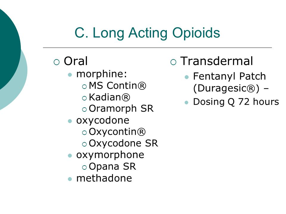 C. Long Acting Opioids Oral Transdermal morphine: oxycodone
