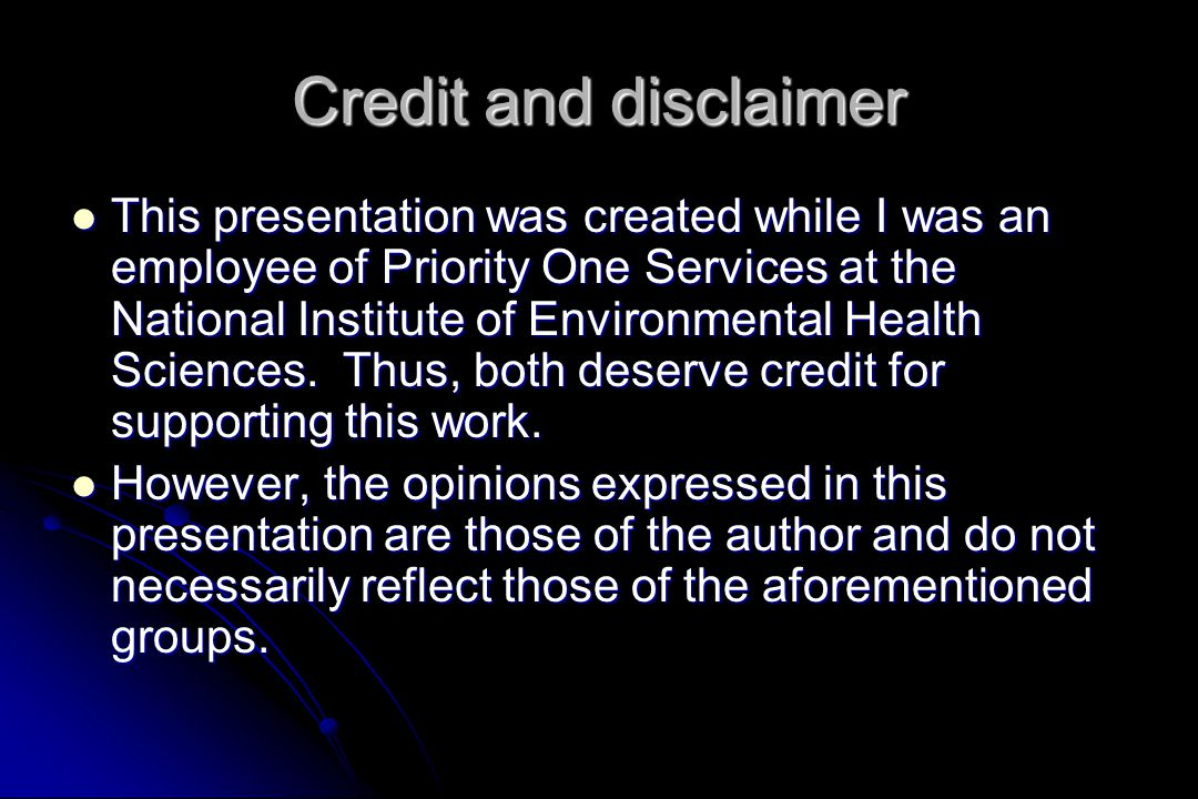 Credit and disclaimer