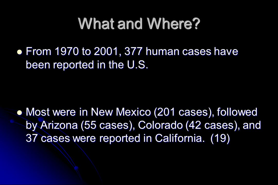 What and Where From 1970 to 2001, 377 human cases have been reported in the U.S.