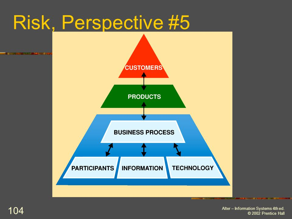 Risk, Perspective #5 Alter – Information Systems 4th ed.