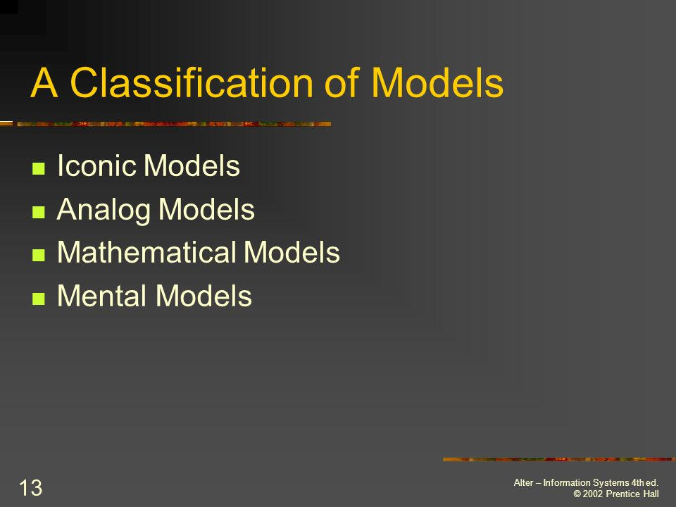A Classification of Models