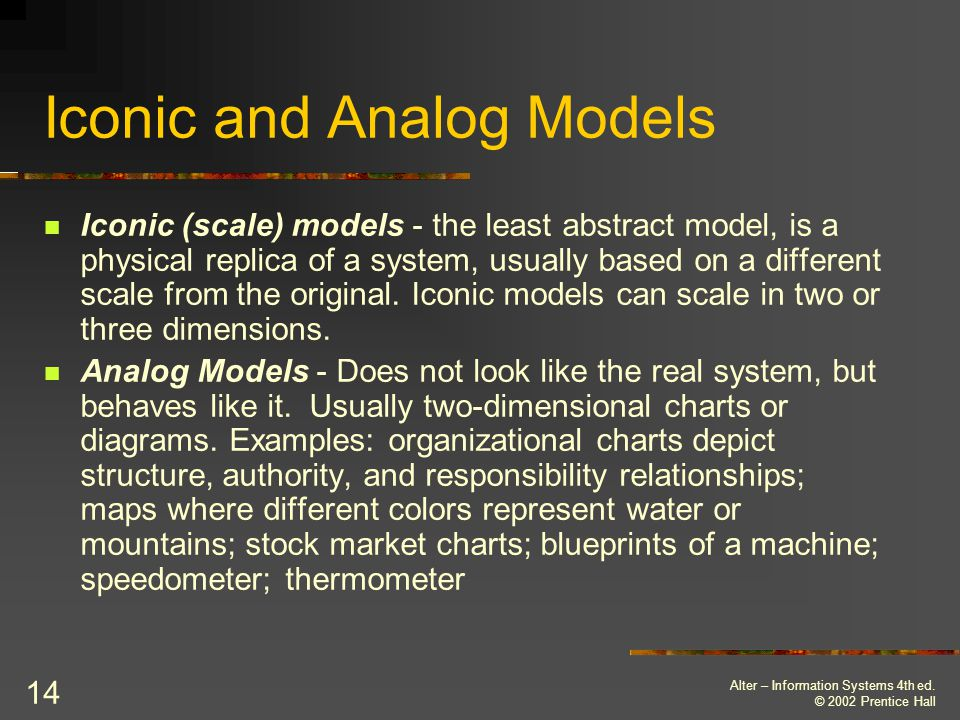 Iconic and Analog Models