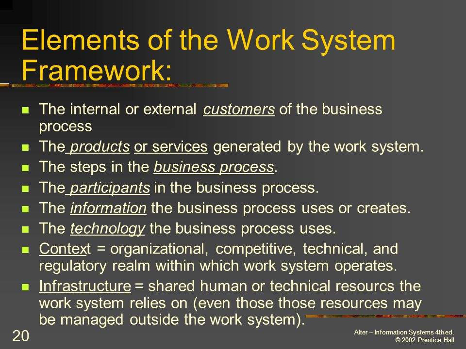 Elements of the Work System Framework: