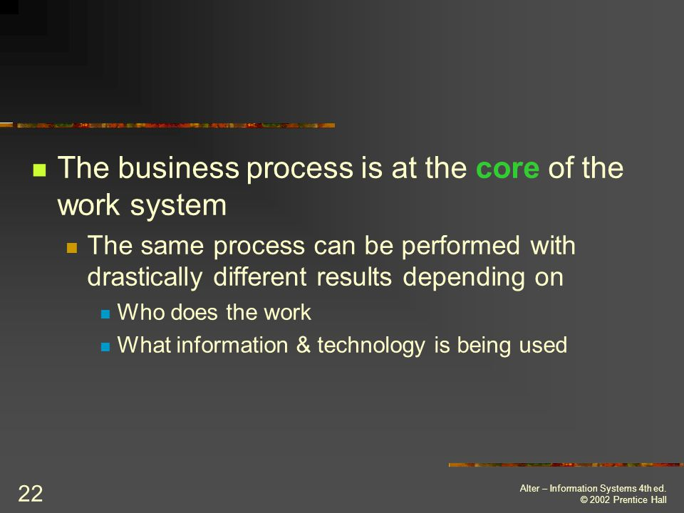 The business process is at the core of the work system