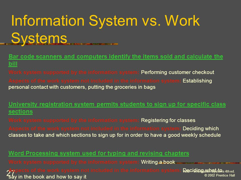 Information System vs. Work Systems