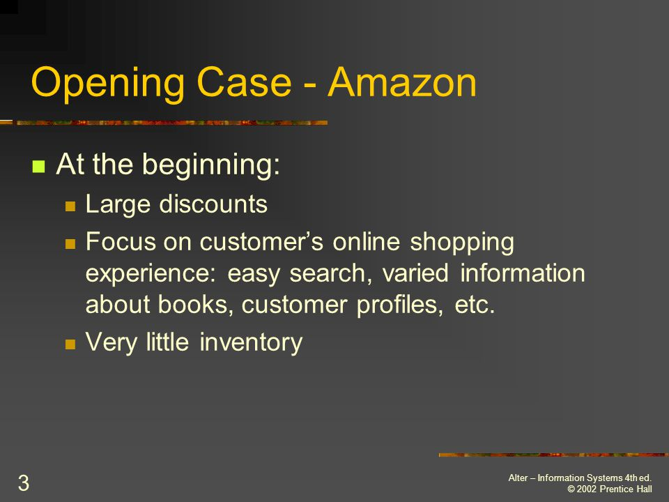 Opening Case - Amazon At the beginning: Large discounts