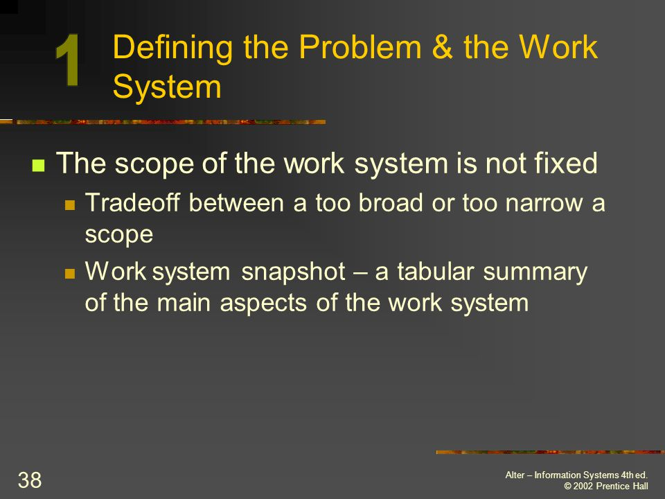 Defining the Problem & the Work System