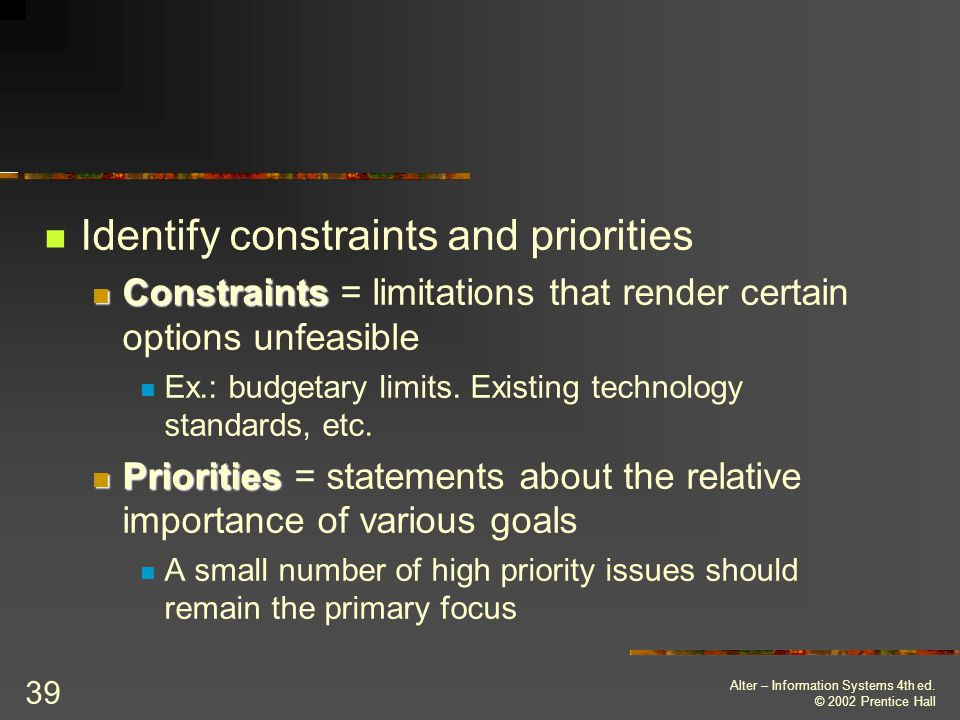 Identify constraints and priorities