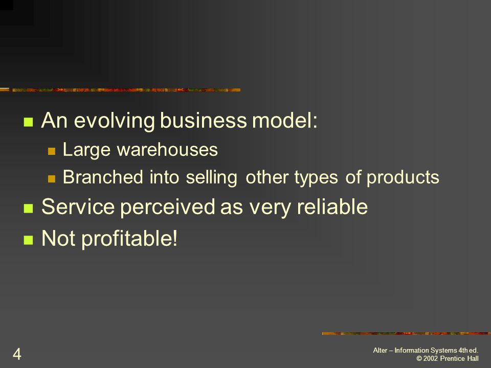 An evolving business model: