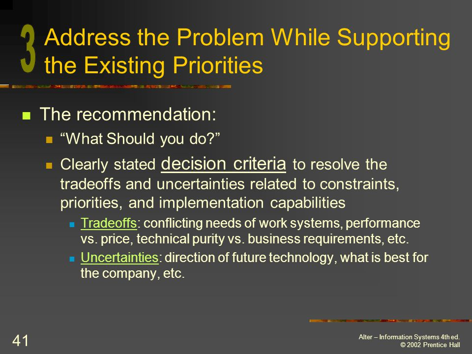 Address the Problem While Supporting the Existing Priorities