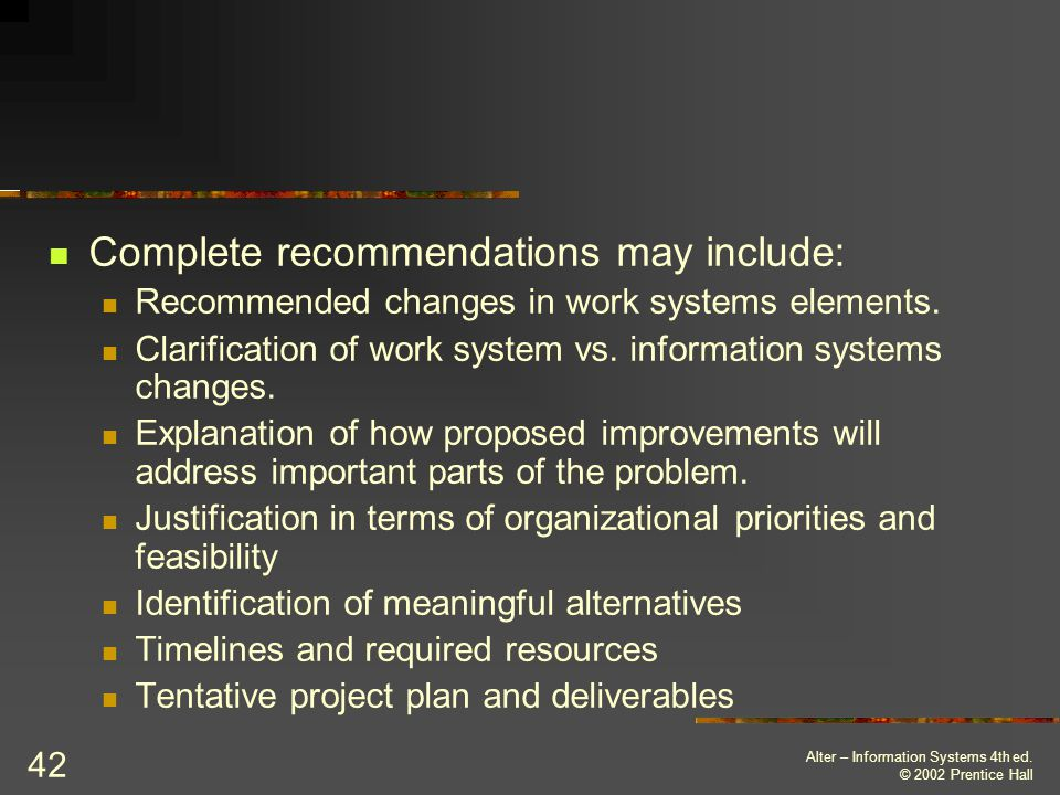 Complete recommendations may include: