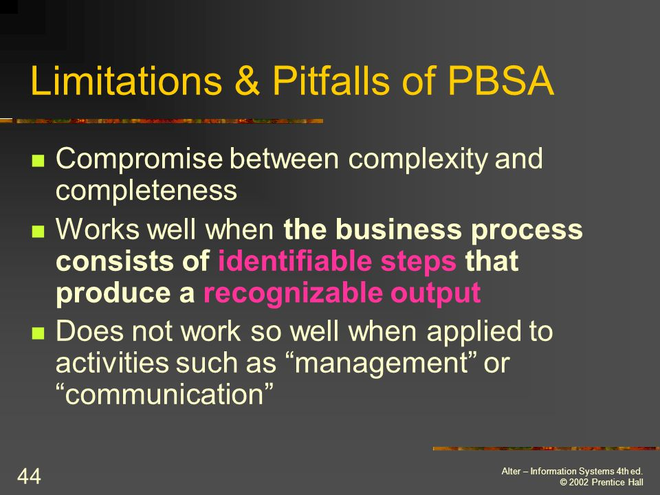 Limitations & Pitfalls of PBSA