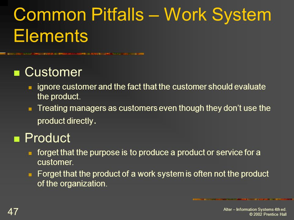Common Pitfalls – Work System Elements