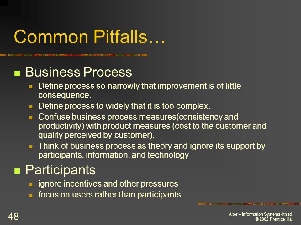 Common Pitfalls… Business Process Participants