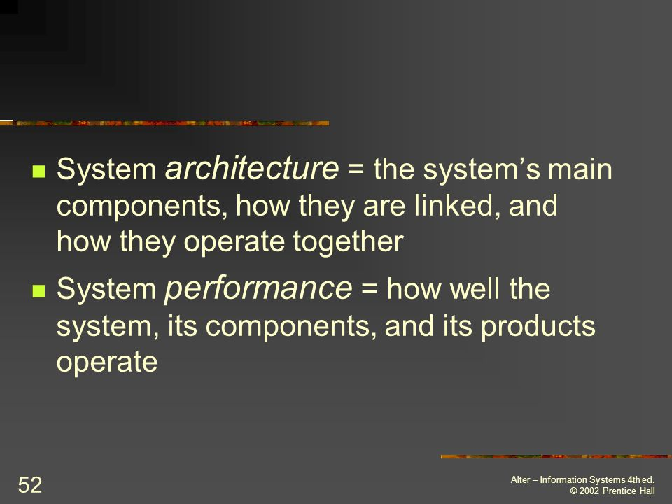 System architecture = the system's main components, how they are linked, and how they operate together