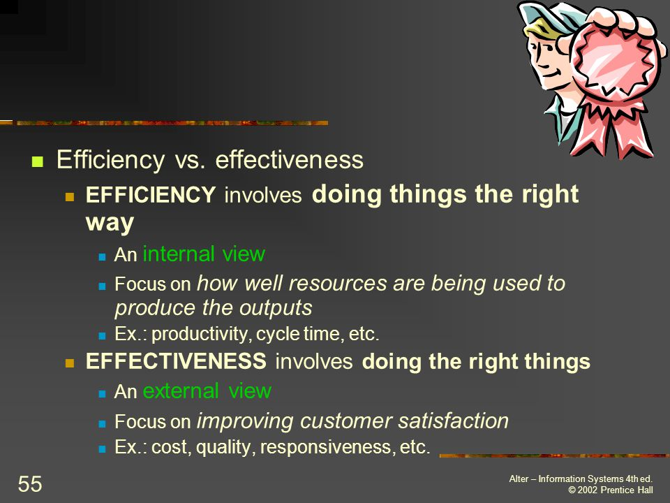 Efficiency vs. effectiveness