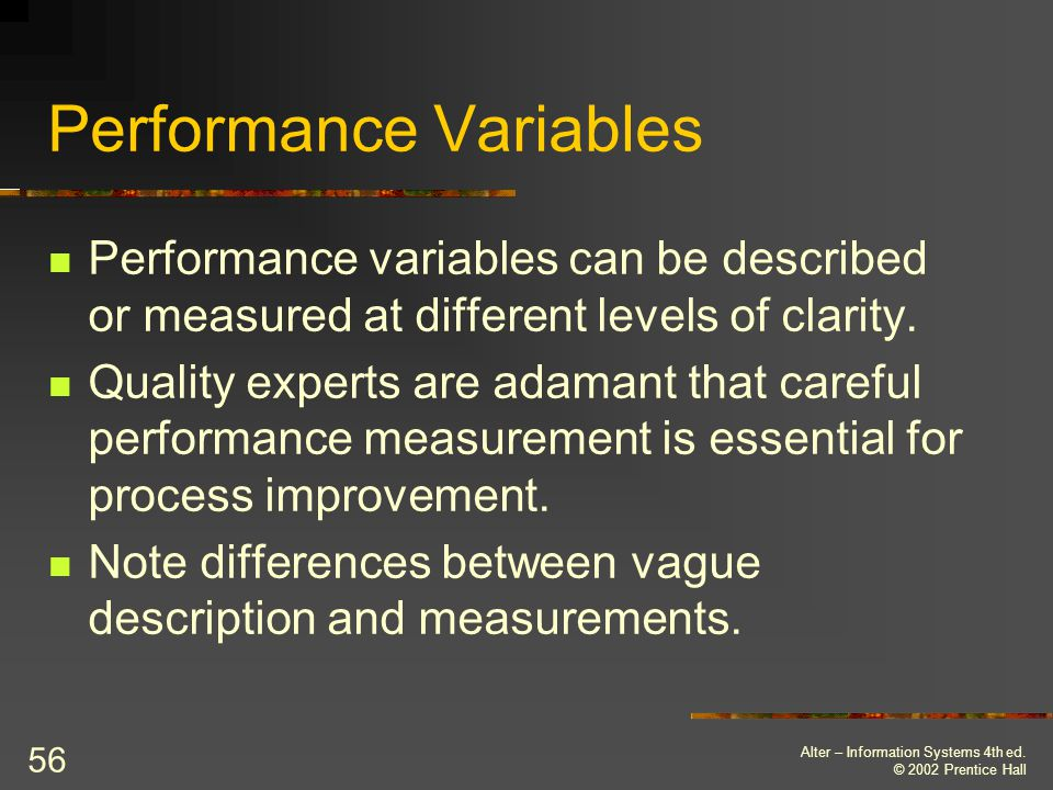 Performance Variables