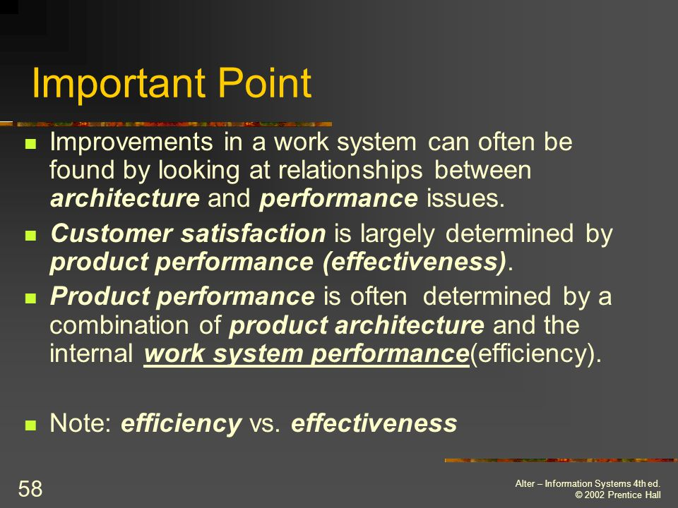 Important Point Improvements in a work system can often be found by looking at relationships between architecture and performance issues.