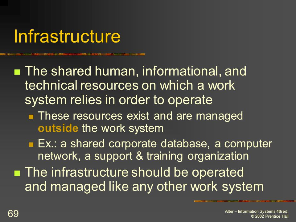 Infrastructure The shared human, informational, and technical resources on which a work system relies in order to operate.