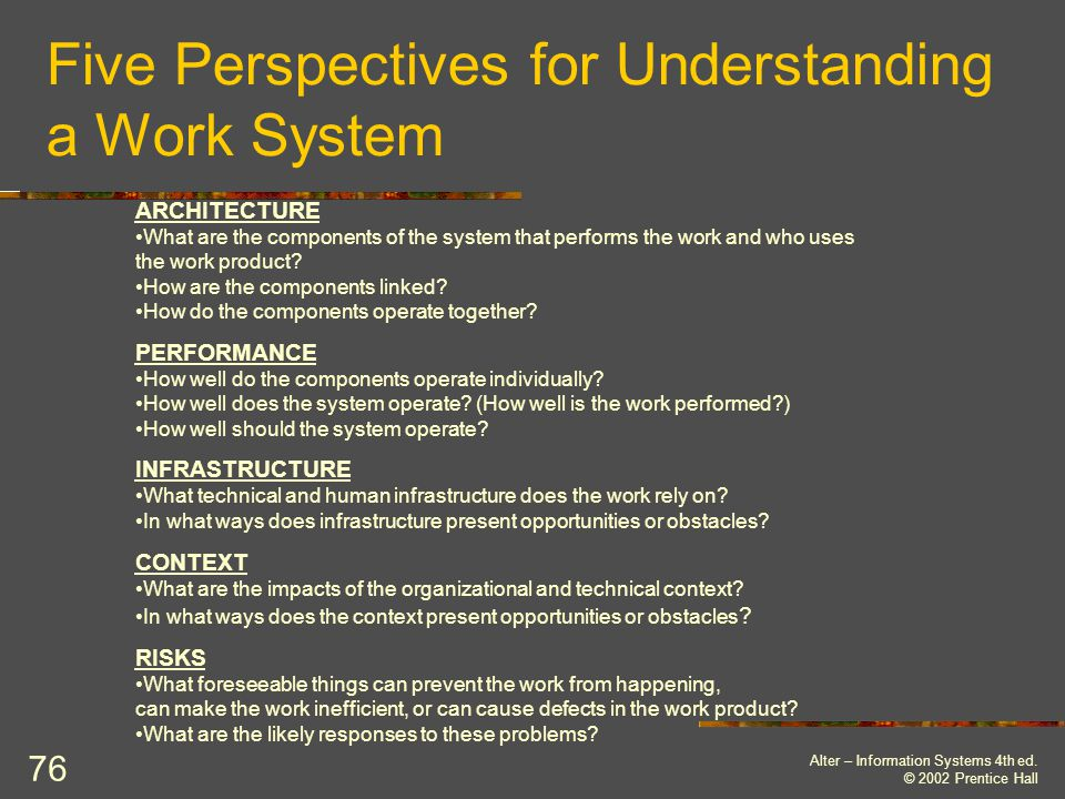 Five Perspectives for Understanding a Work System