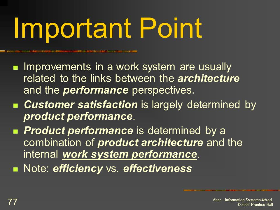 Important Point Improvements in a work system are usually related to the links between the architecture and the performance perspectives.