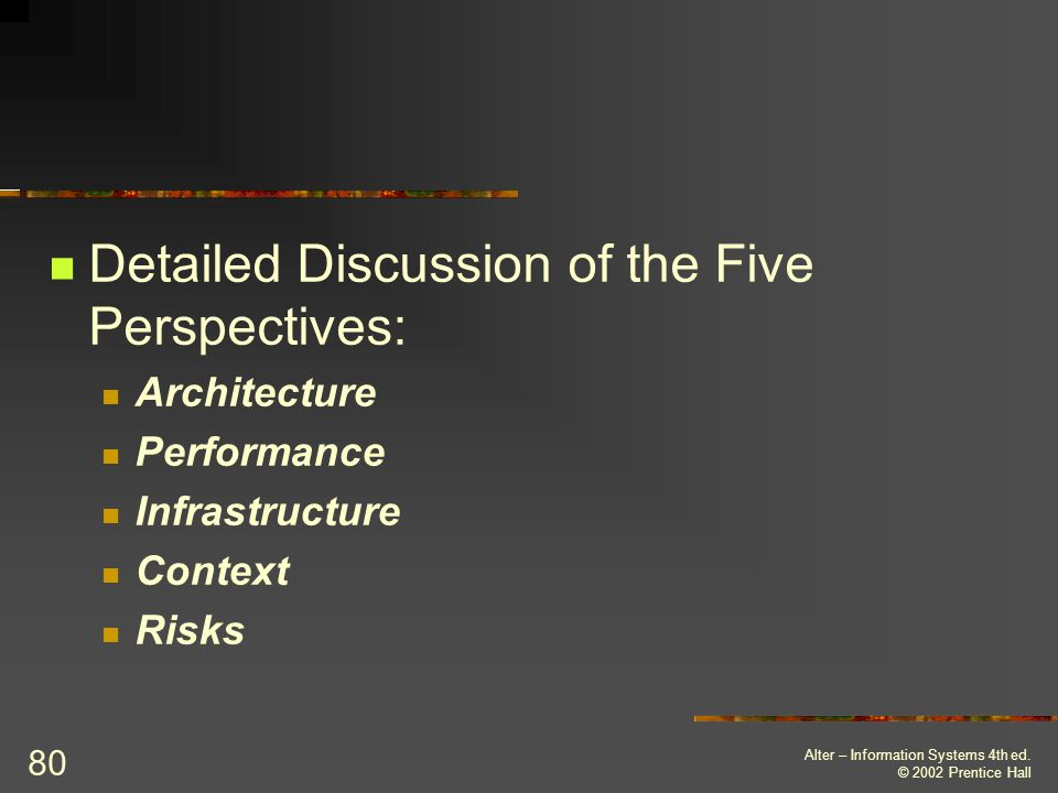 Detailed Discussion of the Five Perspectives: