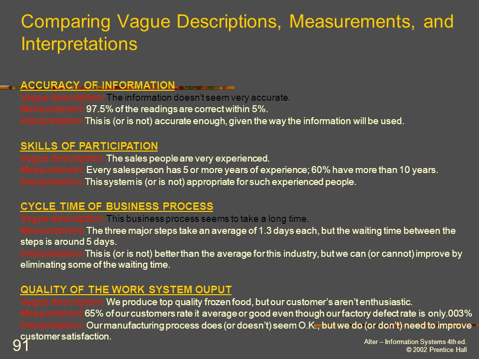 Comparing Vague Descriptions, Measurements, and Interpretations