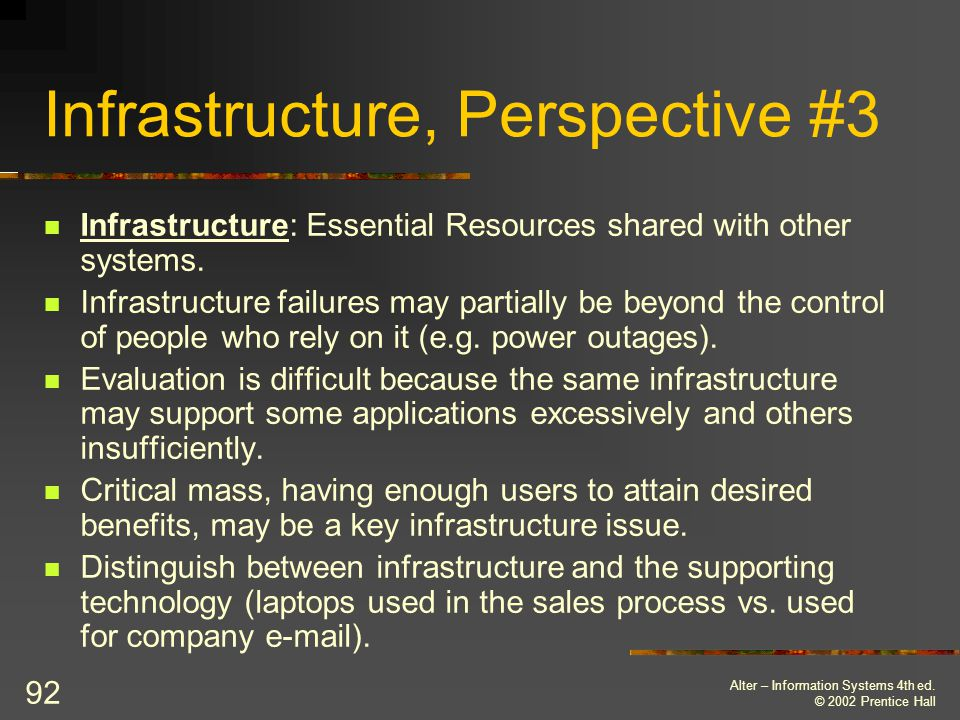 Infrastructure, Perspective #3