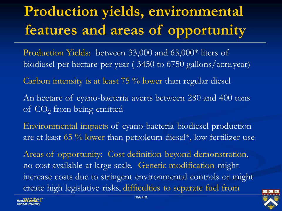 Production yields, environmental features and areas of opportunity