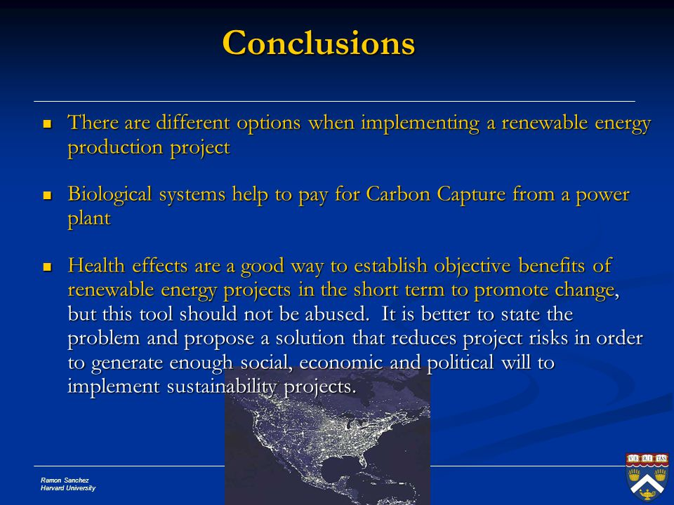 Conclusions There are different options when implementing a renewable energy production project.