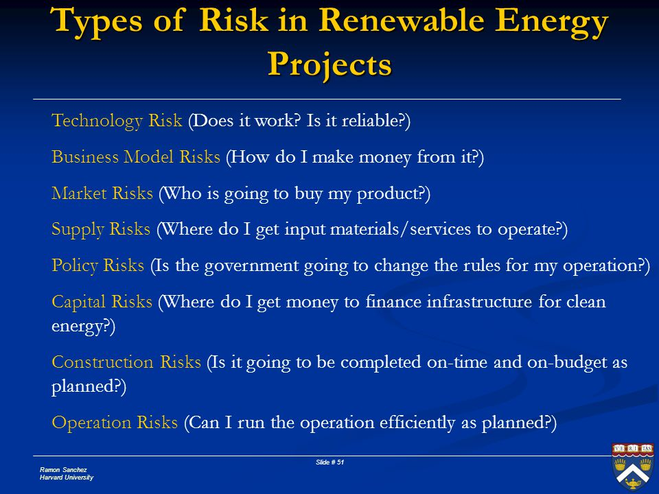 Types of Risk in Renewable Energy Projects
