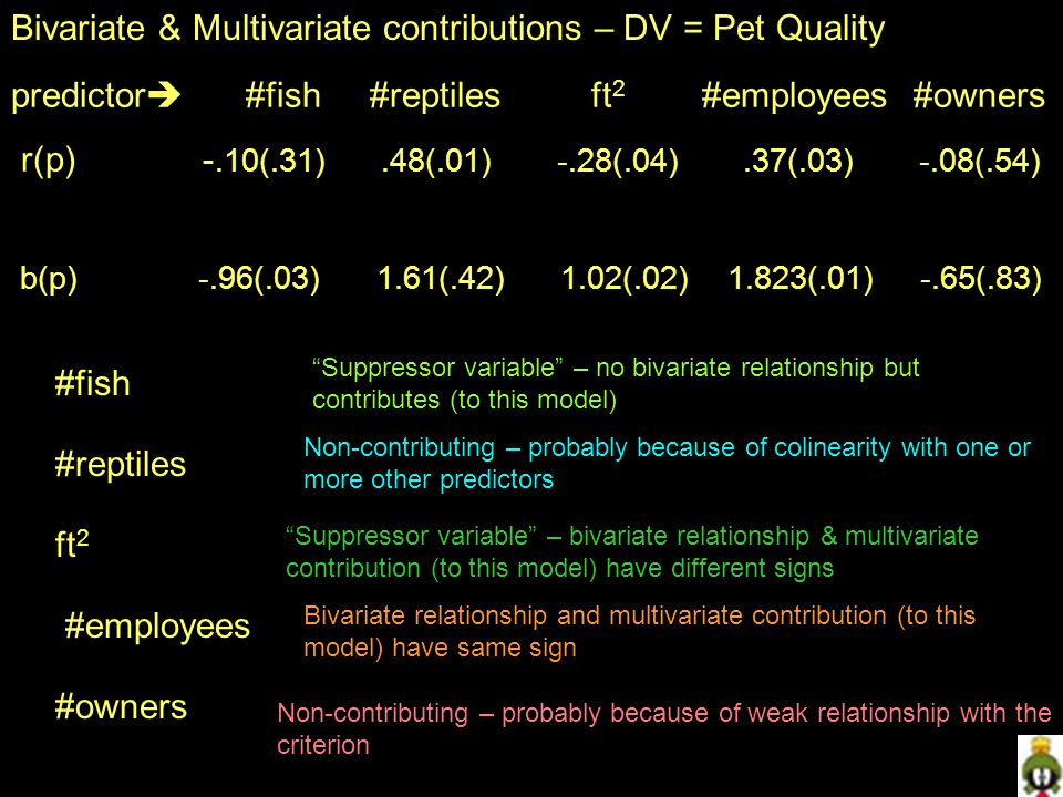 Bivariate & Multivariate contributions – DV = Pet Quality