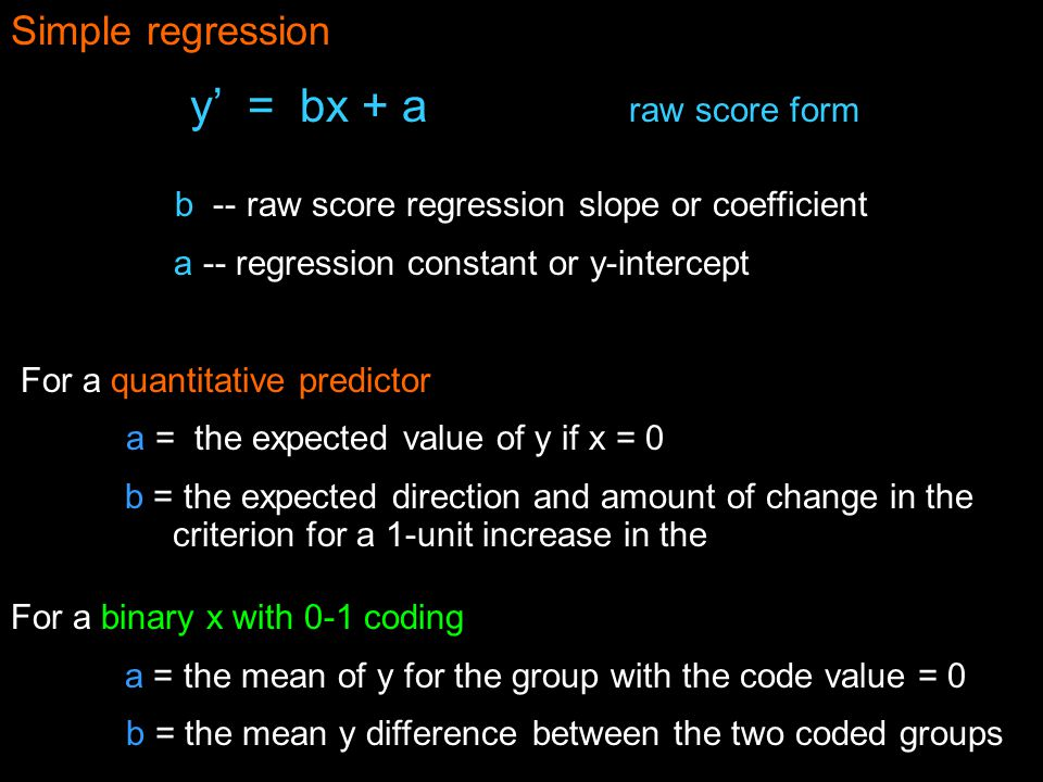 b -- raw score regression slope or coefficient