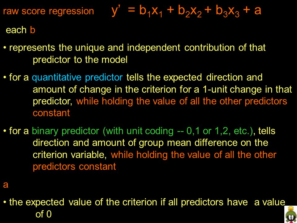 raw score regression y' = b1x1 + b2x2 + b3x3 + a