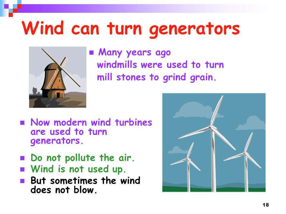 Wind can turn generators